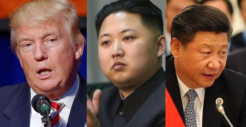 Donald Trump, Kim Jong-un and Xi Jinping