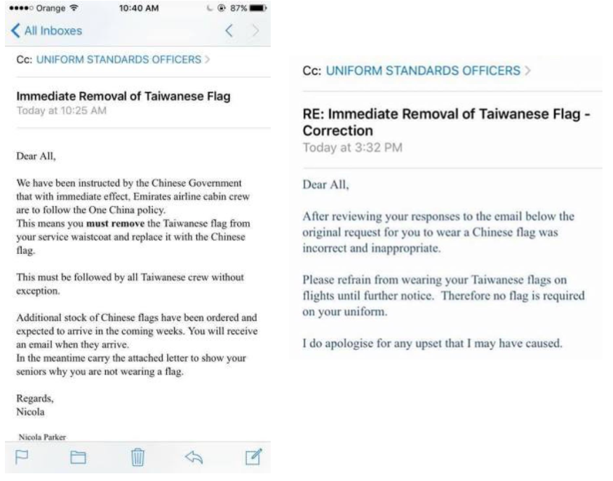 Emirates airline says it intended to recall all flag pins worn by emirates taiwan flag spiritdancerdesigns Gallery