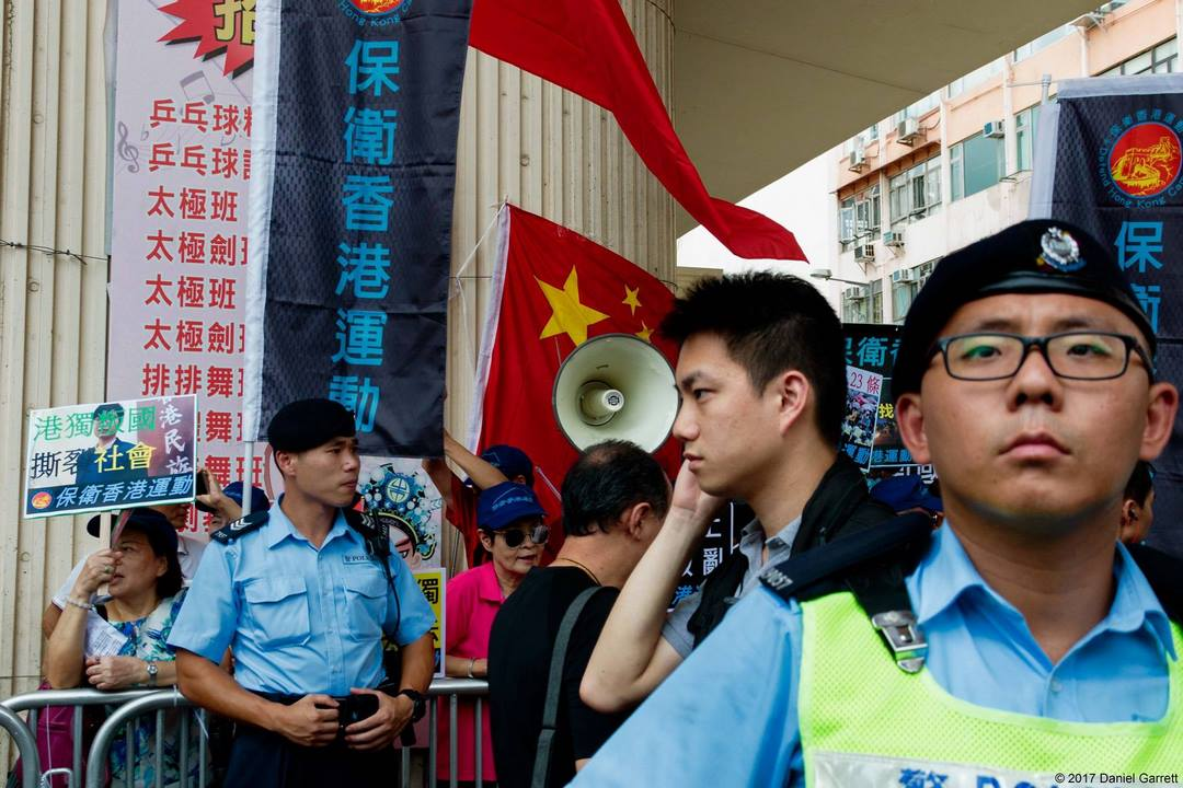 pro-beijing group police july 1 democracy march protest rally