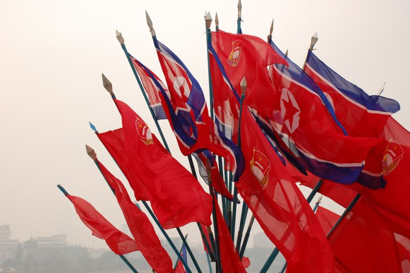 north korea flags