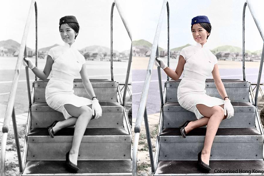 colorised hong kong air hostess 1962