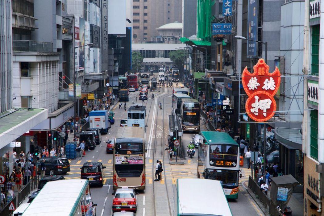 hong kong central sheung wan traffic cars