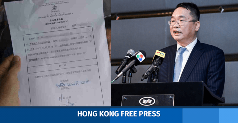 victor chan apple daily reporters barred entry macau