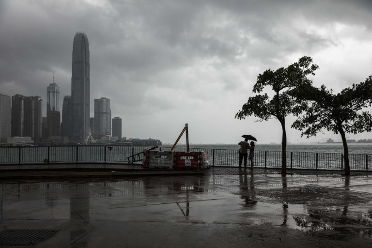 Hong Kong Covered in Clouds as Typhoon Khanun Approaches
