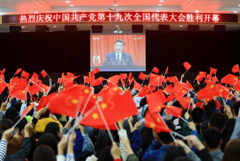 xi jinping china flag congress