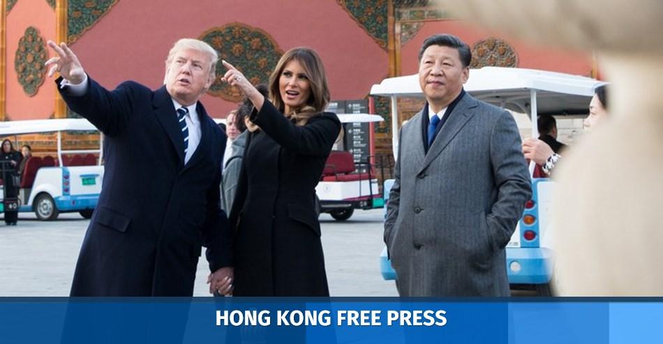 Donald Trump, Melania Trump and Xi Jinping.