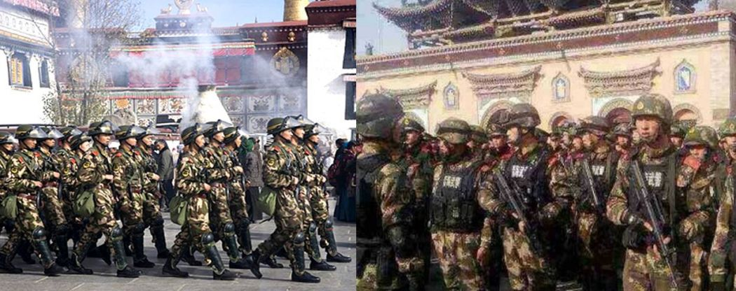 Chinese soldiers in the TIbetan capital.