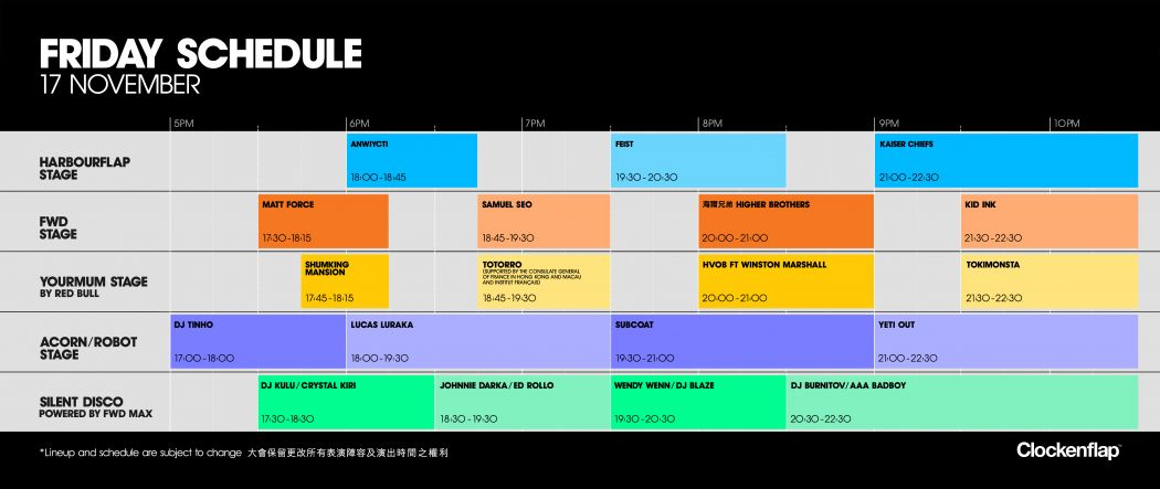 friday clockenflap 2017 schedule