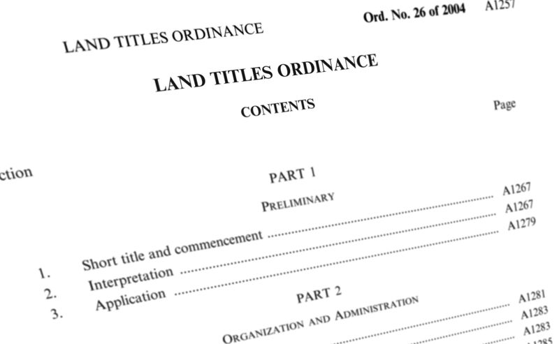land titles ordinance