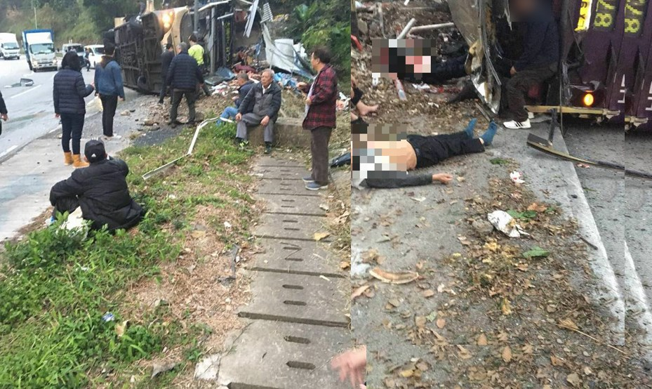 At least 19 killed as bus topples over