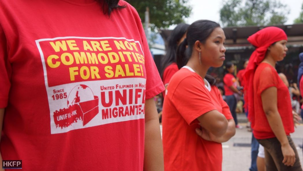domestic worker helper abuse protest demonstration