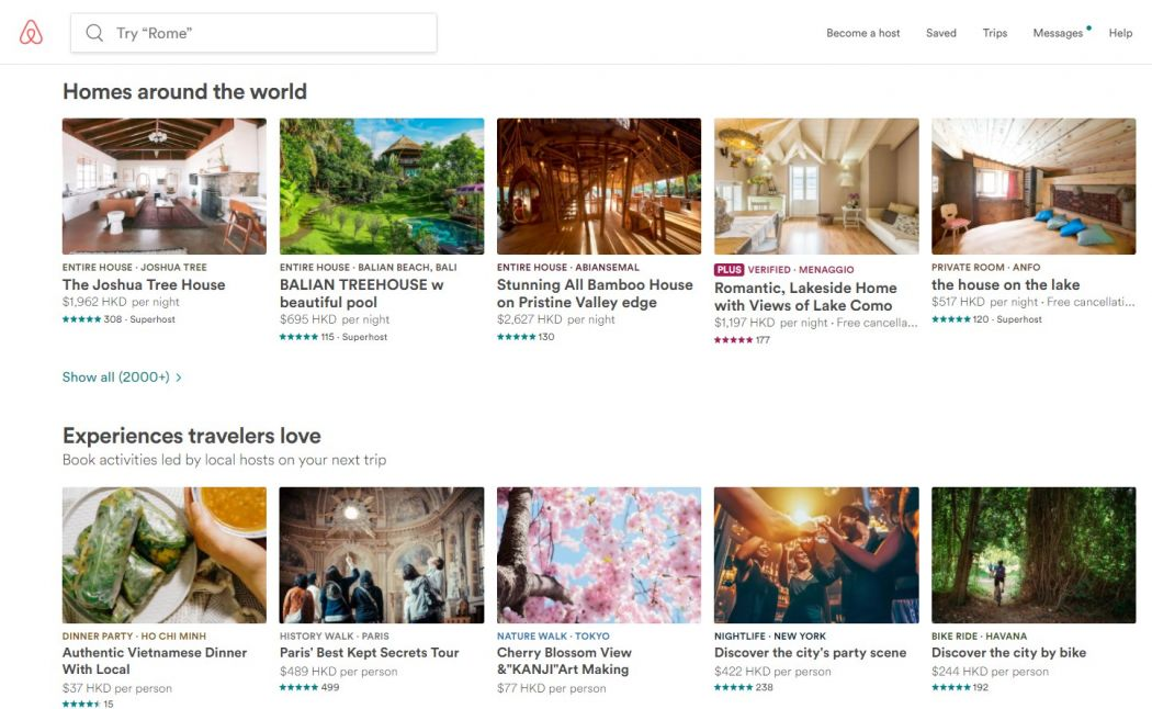 airbnb page
