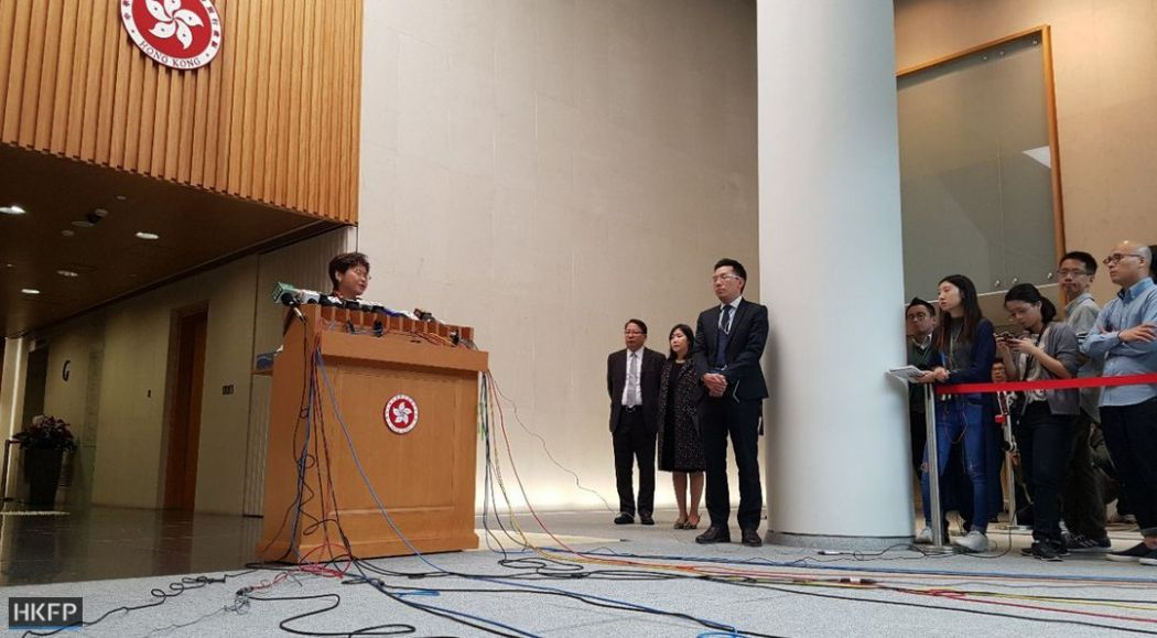 carrie lam press conference media freedom