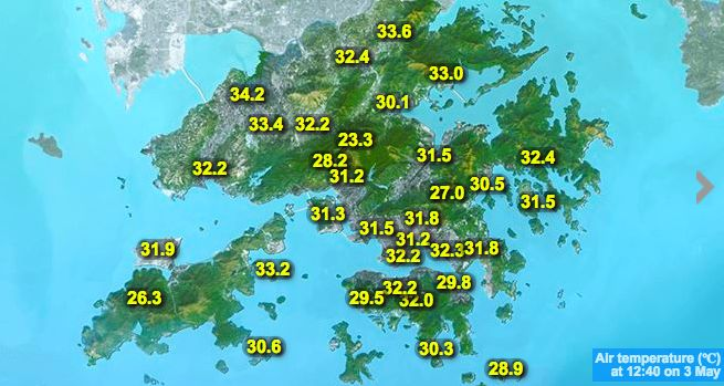 Hong Kong Weather Map.Record Breaking Heat As Temperatures Soar In Hong Kong But Rain In