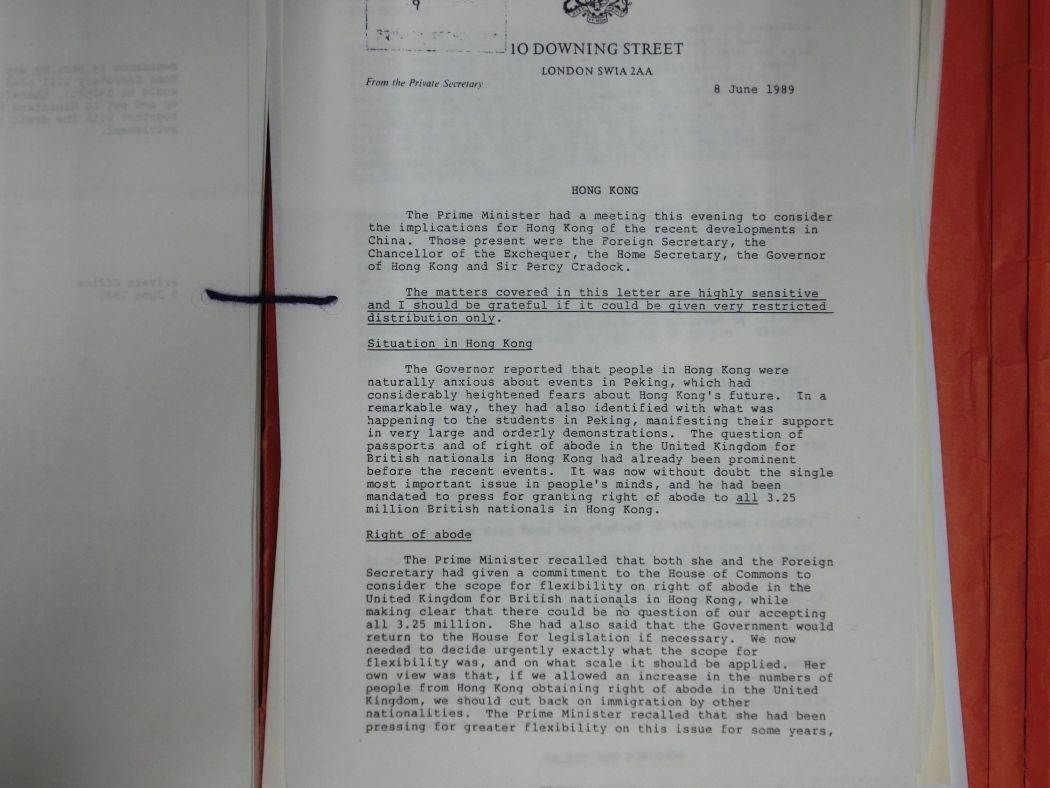 National Archives Thatcher Hong Kong