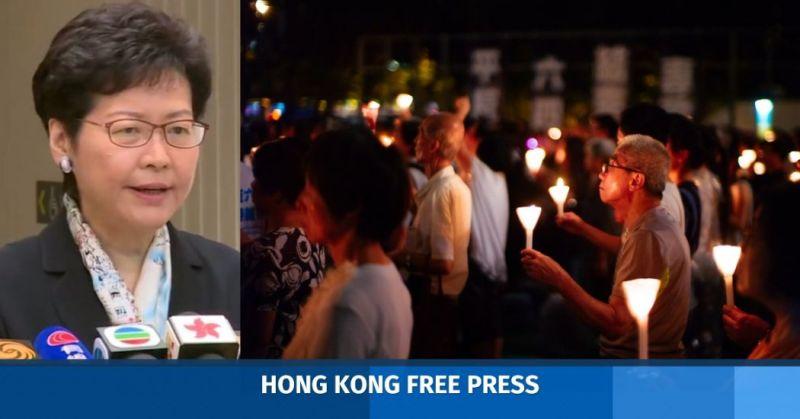Carrie Lam Tiananmen vigil