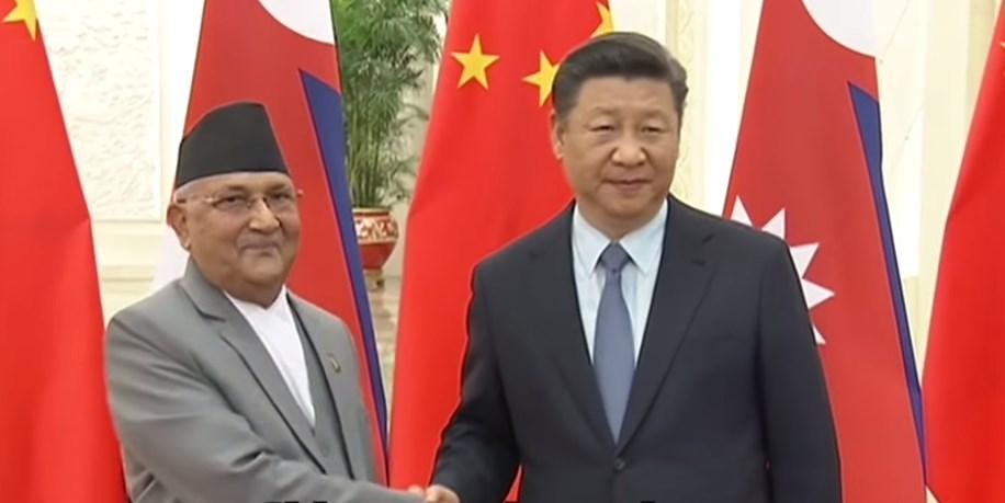 Nepal's Prime Minister K.P. Sharma Oli and China's Xi Jinping.