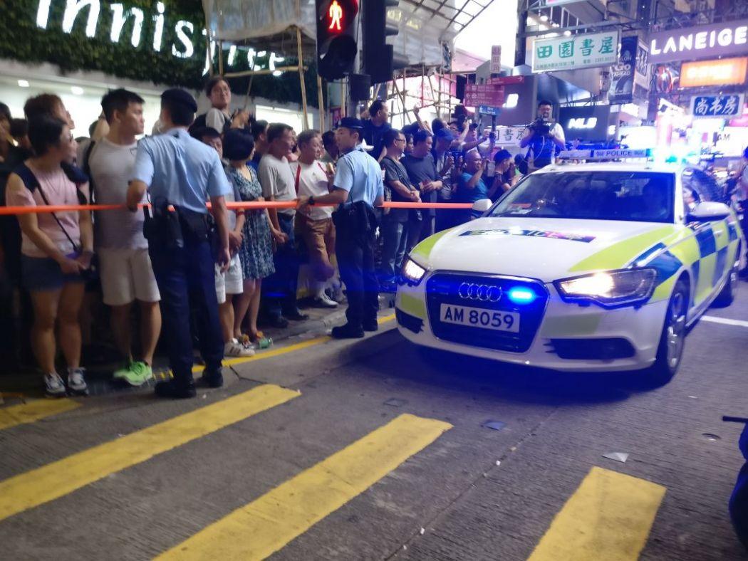 Mong Kok pedestrian zone police car