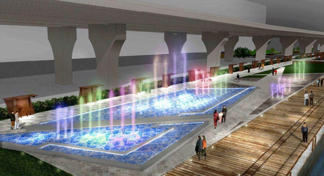 Kwun Tong promenade music fountain