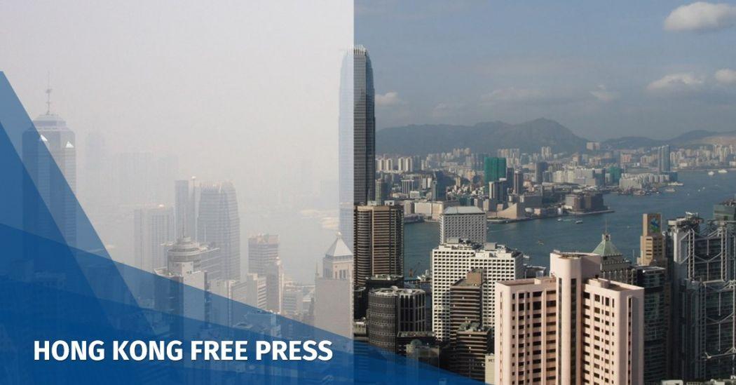 Hong Kong pollution haze contrast