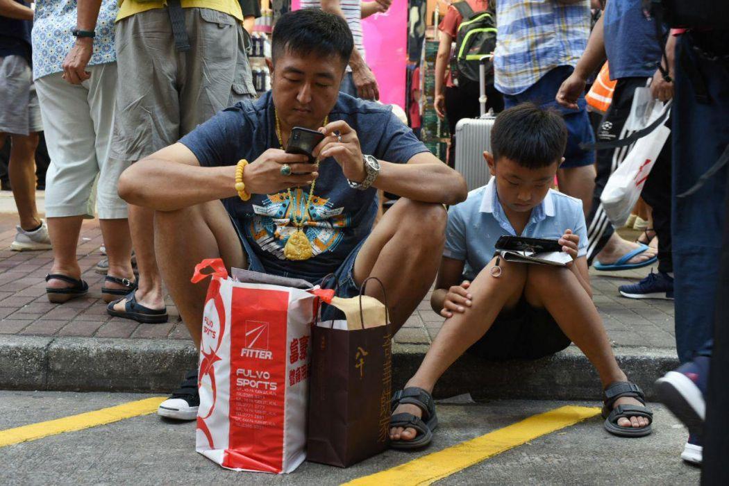 Mong Kok pedestrian zone tourist