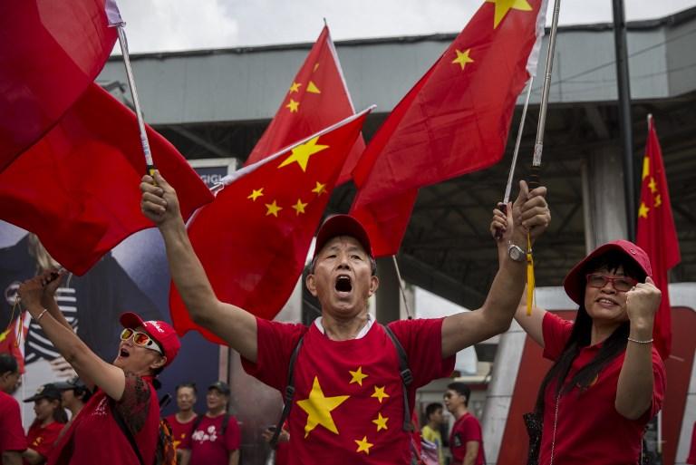 chinese flag hong kong protest