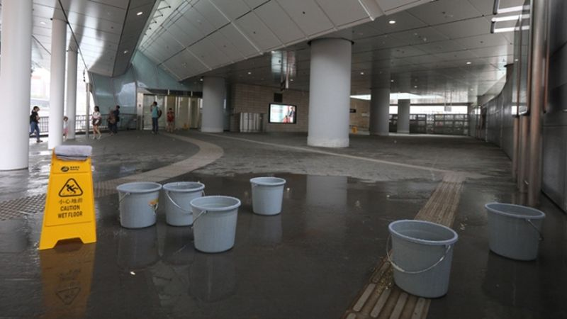 Water dripping West Kowloon terminus