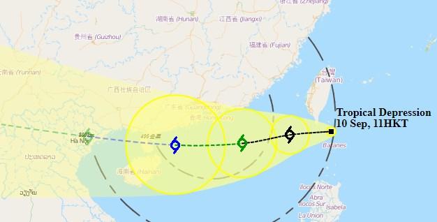 Tropical depression Hong Kong