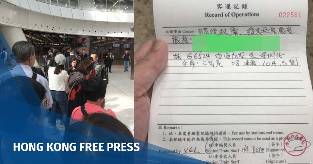 Hand-written tickets issued to high-speed rail passengers after system failure at West Kowloon station | Hong Kong Free Press HKFP