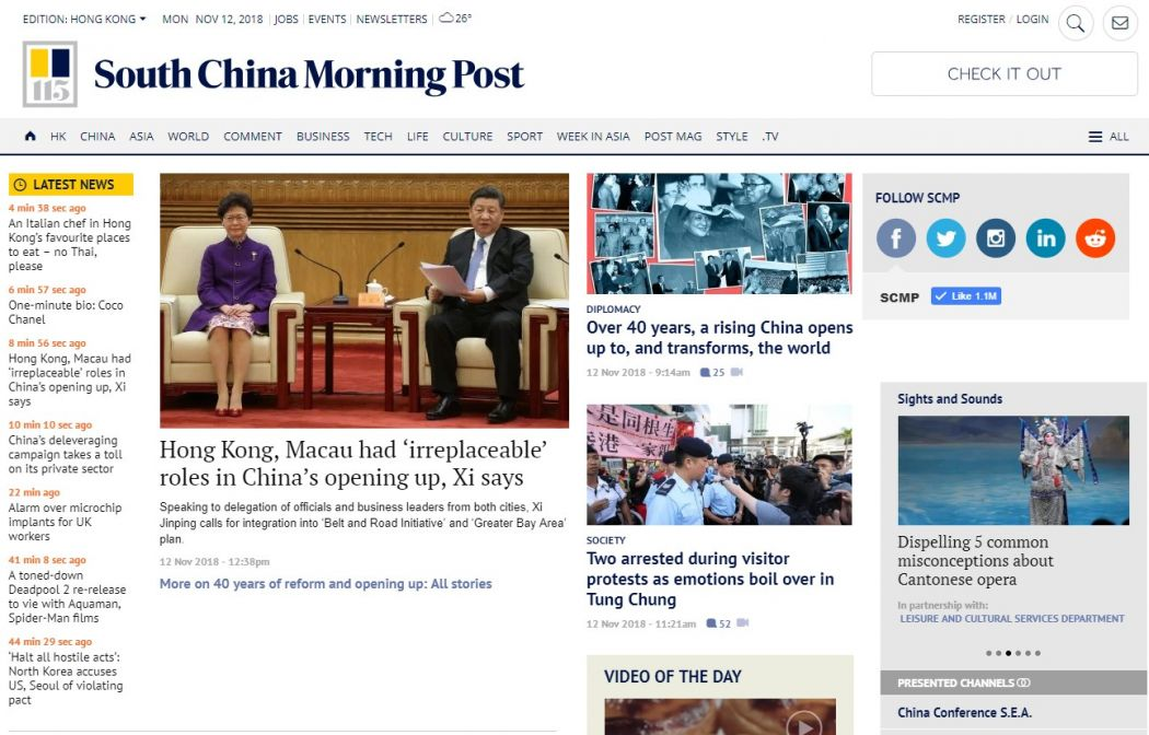 South China Morning Post homepage