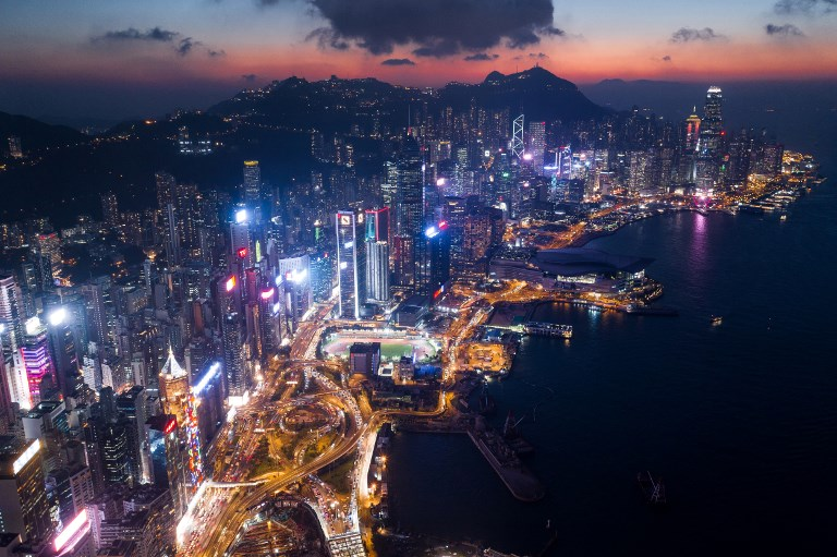 hong kong aerial drone above