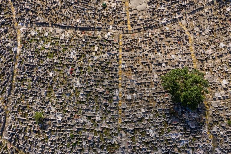 hong kong aerial drone above