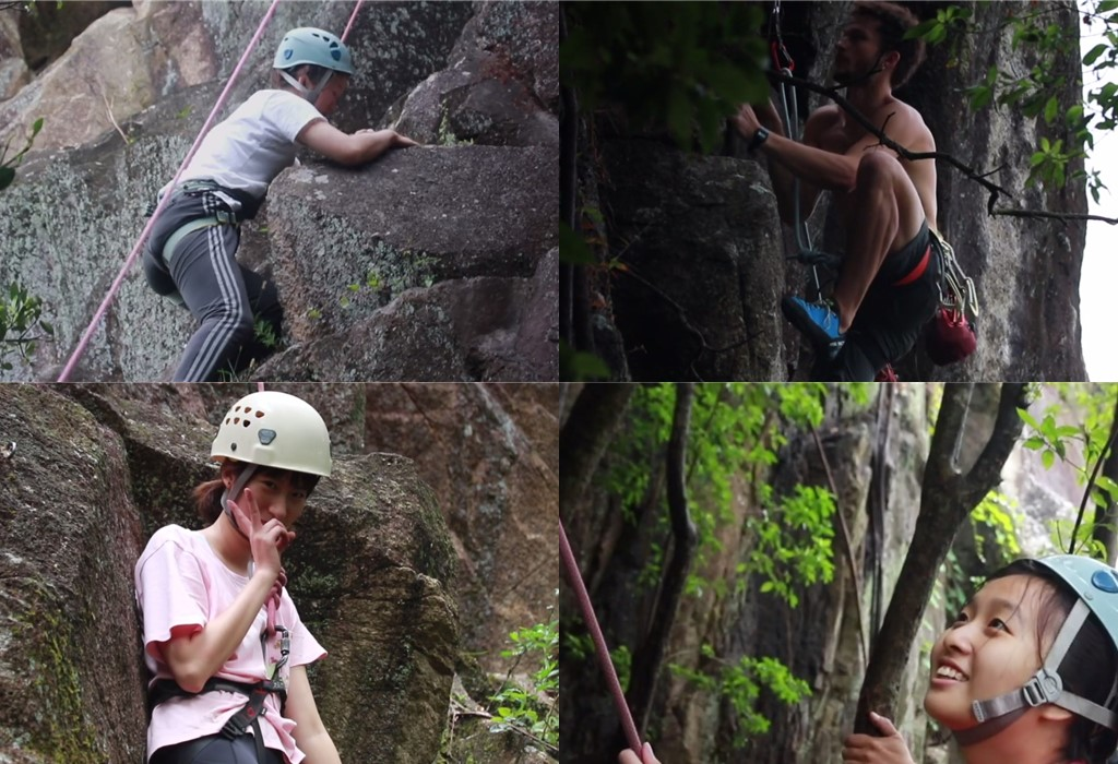 rock climbing students