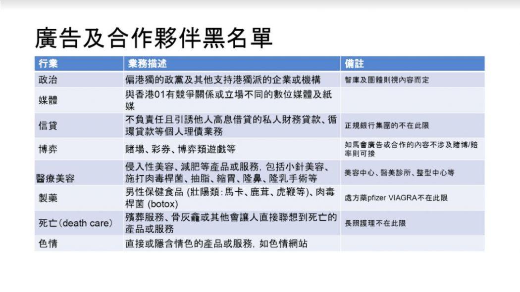HK01 blacklist