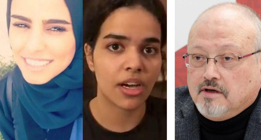 Dina Ali Lasloom, Rahaf Mohammed al-Qunun, and Jamal Khashoggi.
