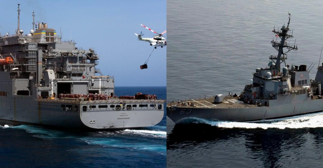 The USNS Cesar Chavez and USS Stethem destroyer.