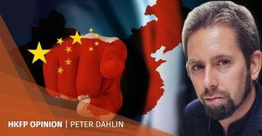 china flag point finger
