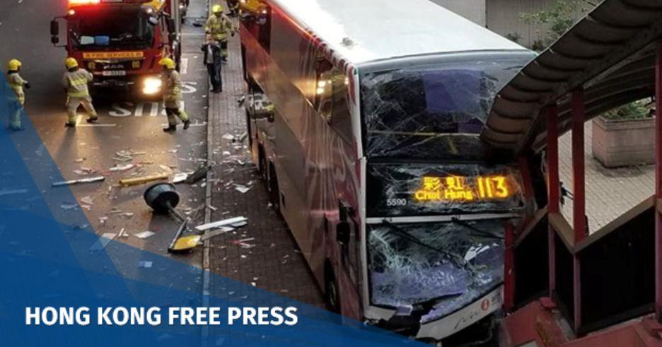 Four hospitalised as double-decker bus slams into footbridge in Sheung Wan | Hong Kong Free Press HKFP