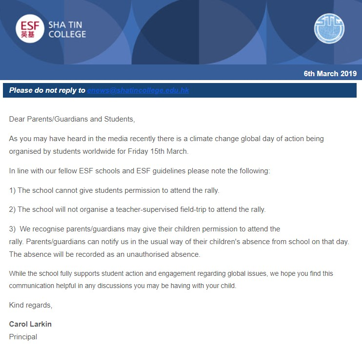 sha tin college letter