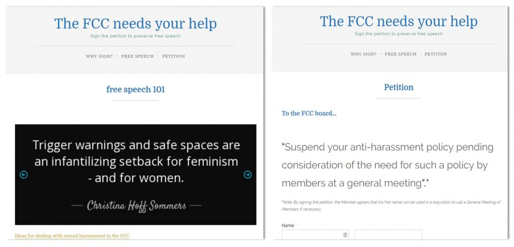 fcc harassment policy