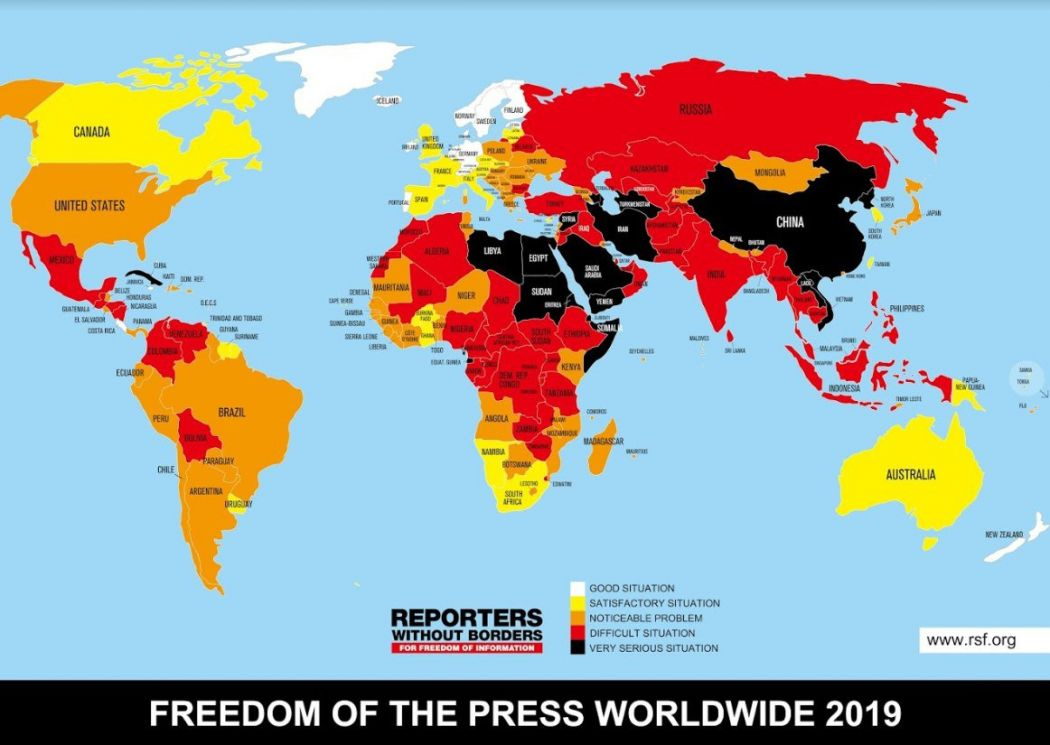 reporters without borders 2019 map press freedom