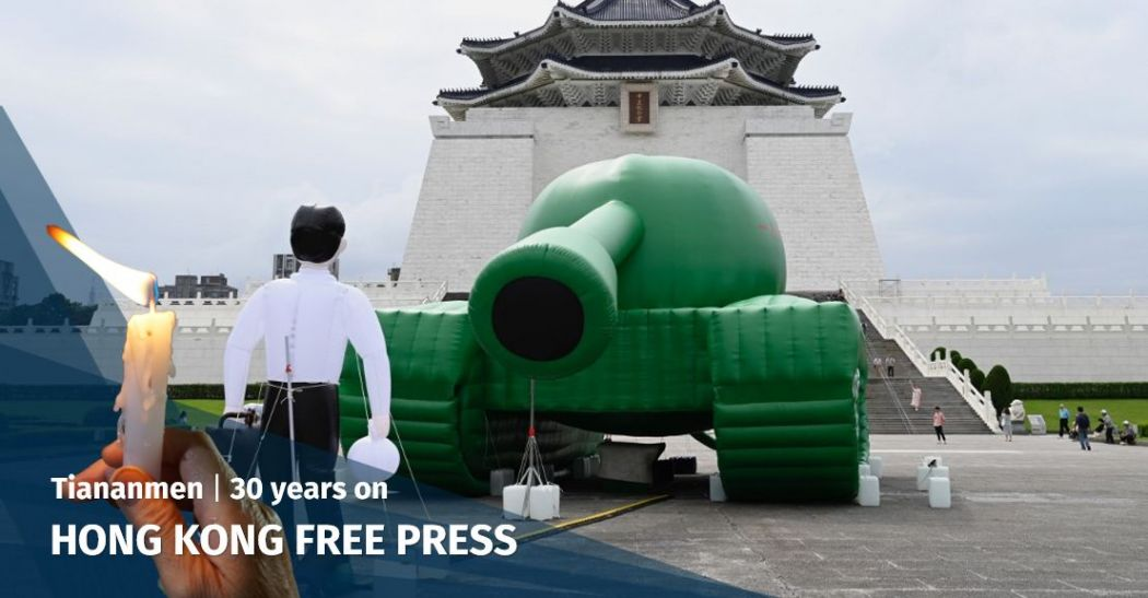 In Pictures: Inflatable Tank Man sculpture appears in Taiwan ahead of Tiananmen Massacre anniversary | Hong Kong Free Press HKFP