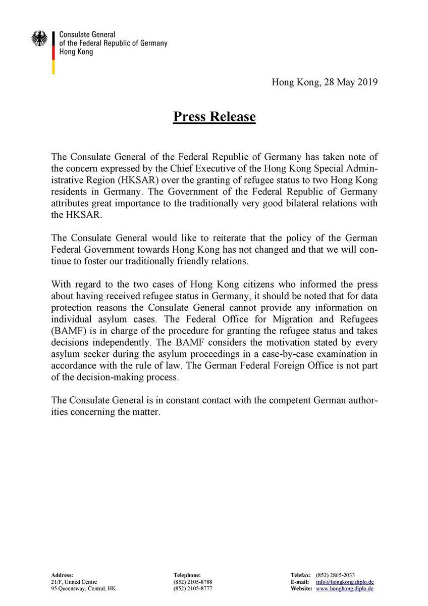 german consulate statement