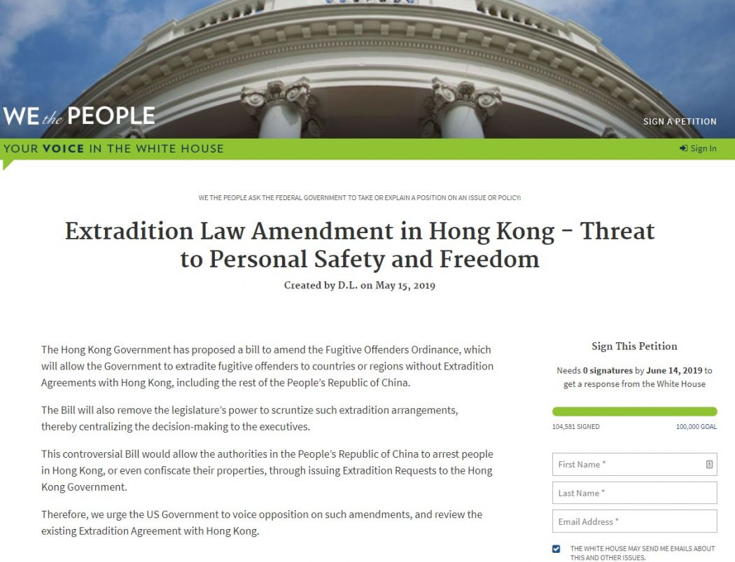 Petition urging US to review existing extradition deal with