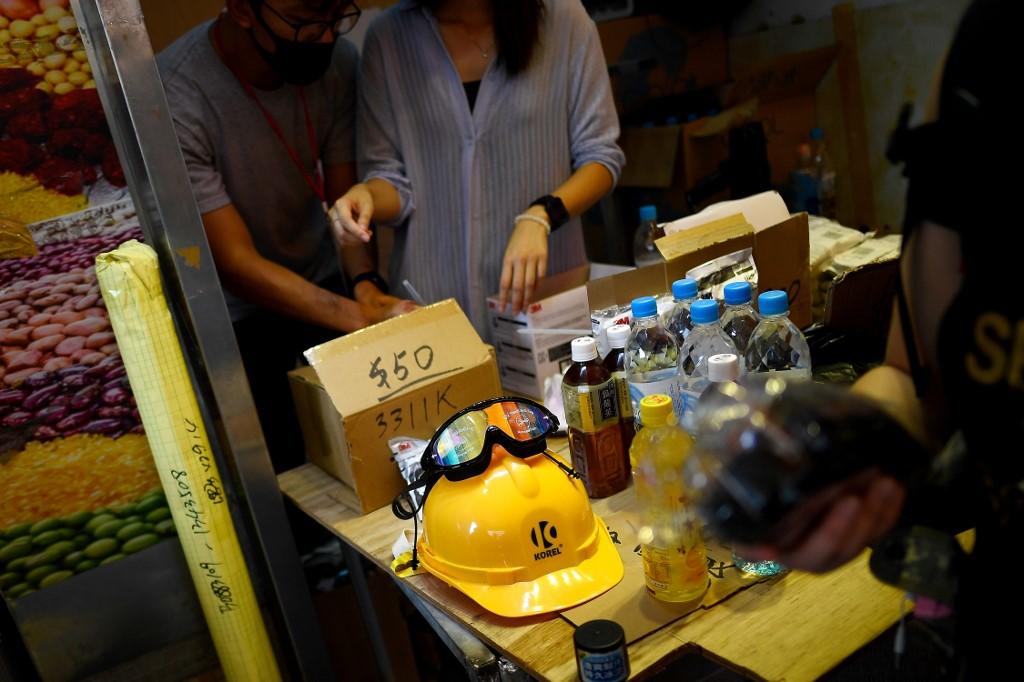 Hong Kong protes pop-up store goggles helmet gas mask
