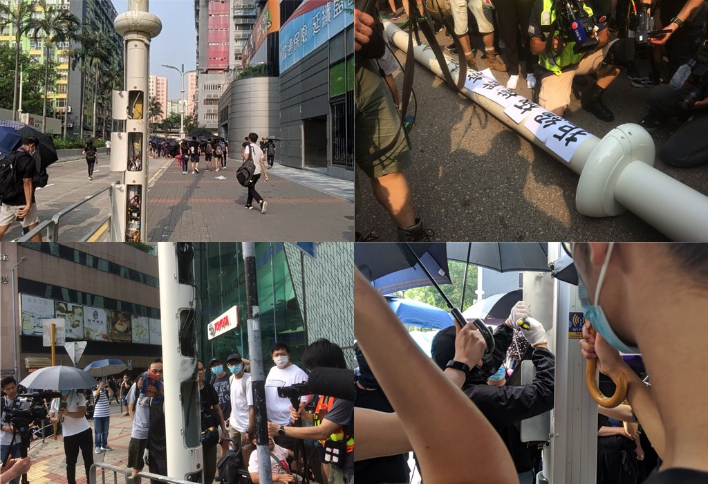 Protesters vandalise smart lamposts in Kwun Tong.