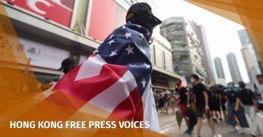 US flag Hong Kong protest