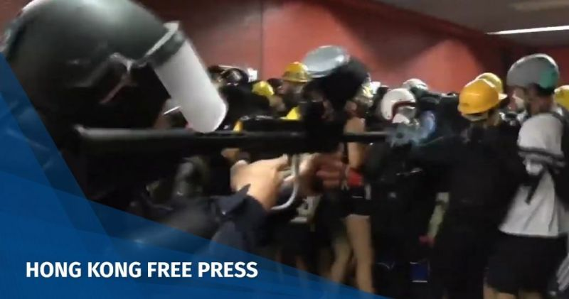 Hong Kong police Tai Koo MTR fire pepper ball protesters