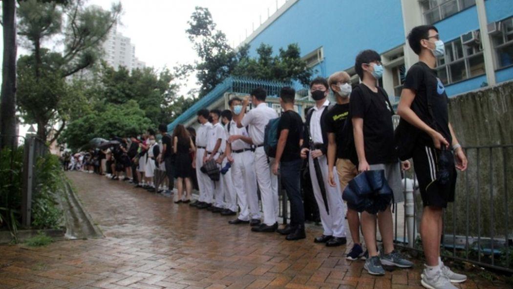 chai wan school human chain protest