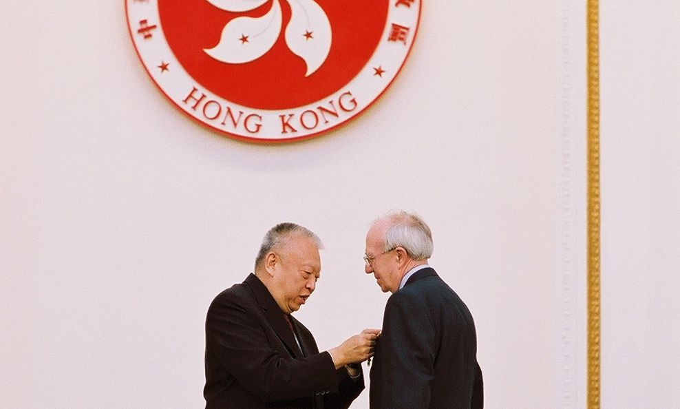 Sir David Akers-Jones is awarded the Grand Bauhinia Medal in 2002. x